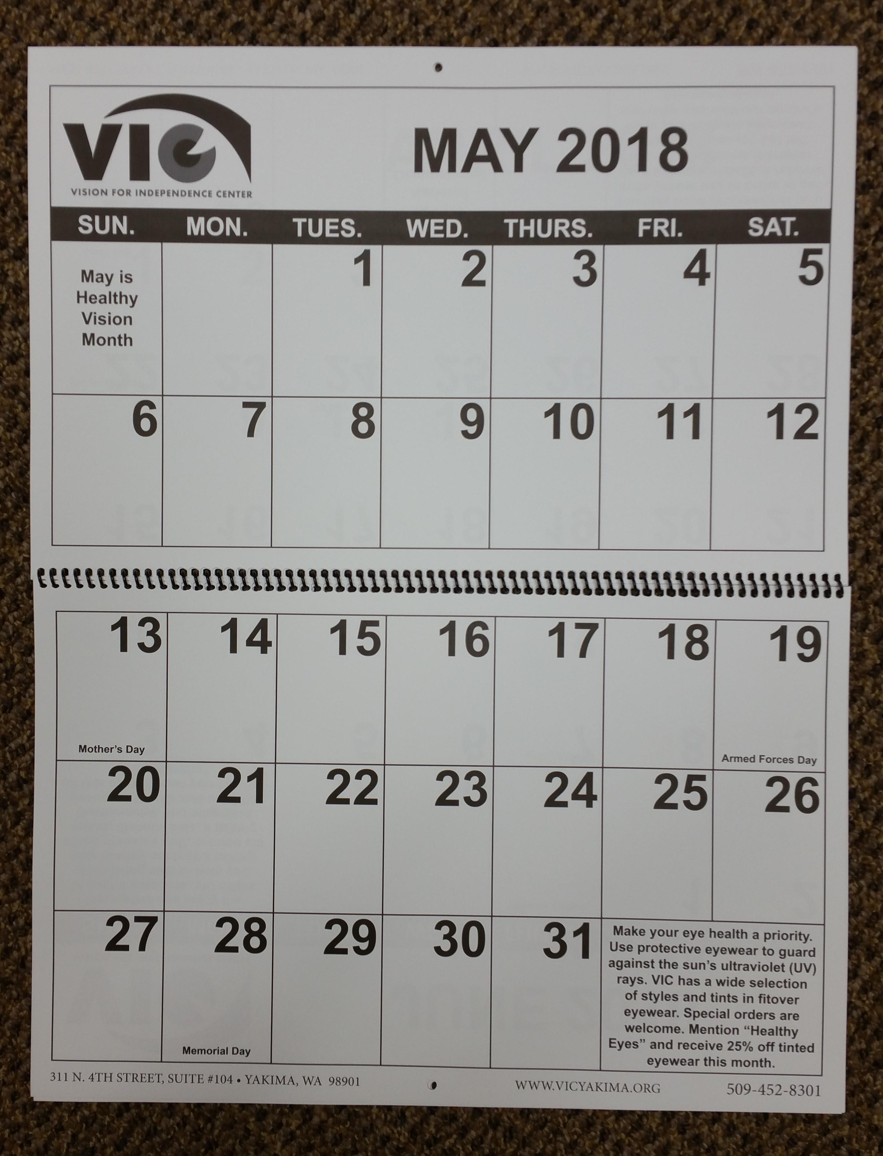 Large Print 2018 VIC Calendar